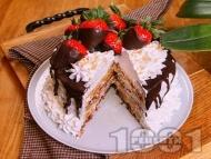 Рецепта Лесна, бърза и лека торта с готови домашна блатове, праскови от компот и крем от цедено кисело мляко
